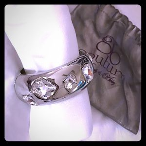 Cuff bracelet in shiny silver & art deco gemstones
